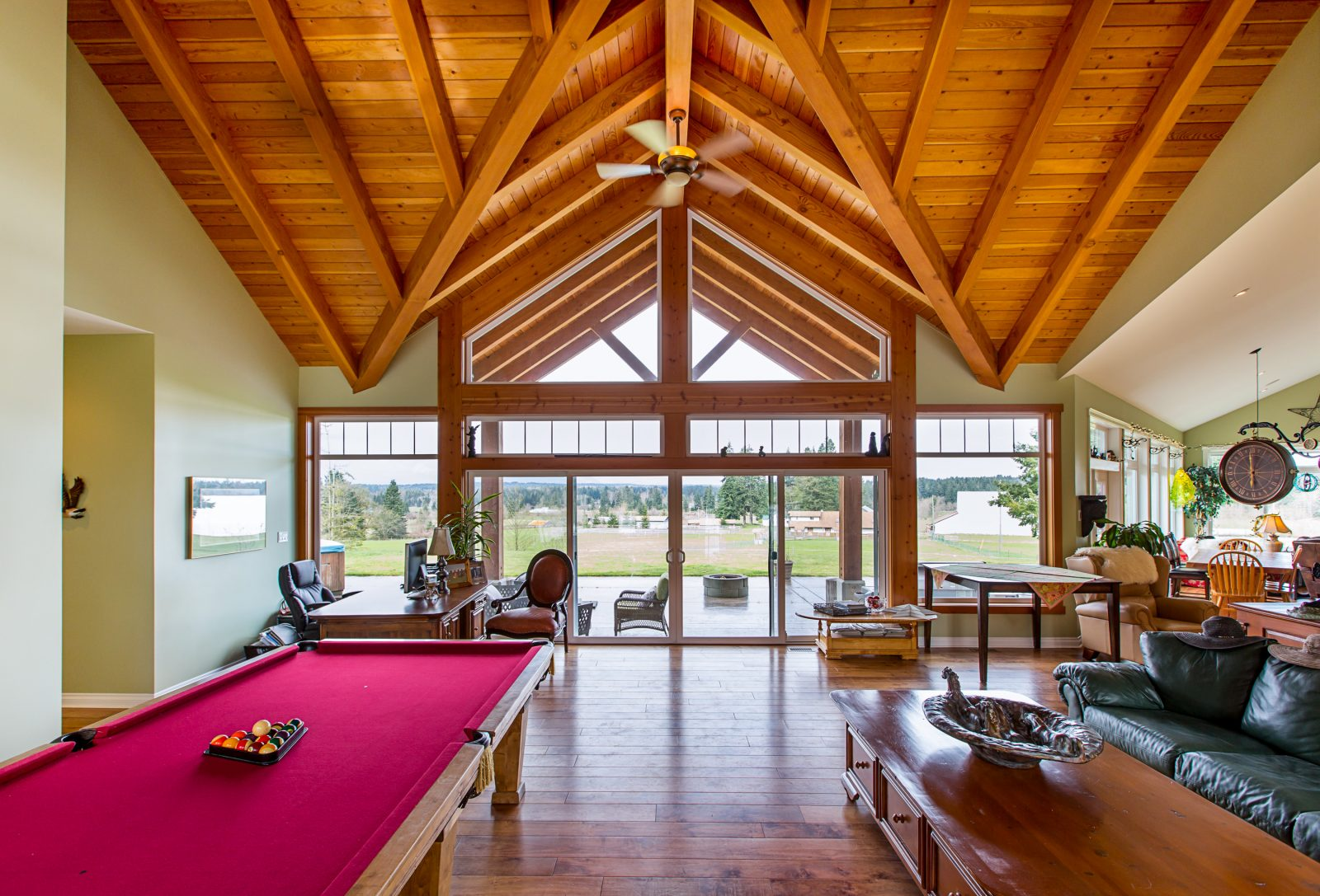 Newly renovated home with wooden beams and exposed wood vaulted ceilings